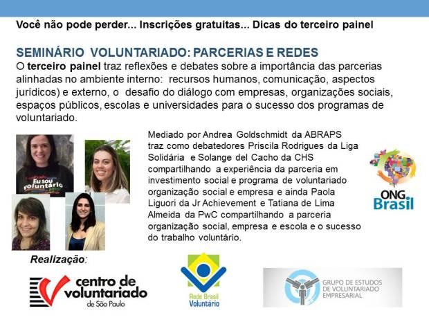 Parcerias no voluntariado é o tema do terceiro painel do seminário. Inscreva-se!