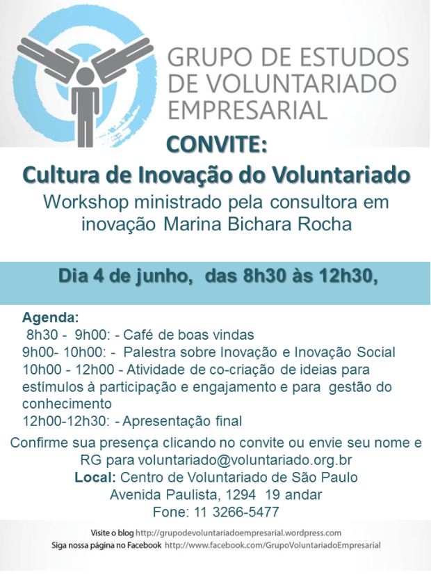 Participe do Workshop Cultura de Inovação de Voluntariado - 4/6