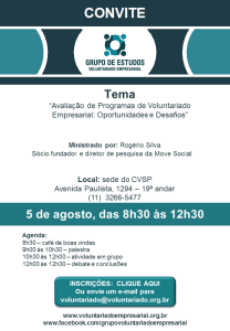 Convite  5 de agosto  - Grupo de Voluntariado Empresarial