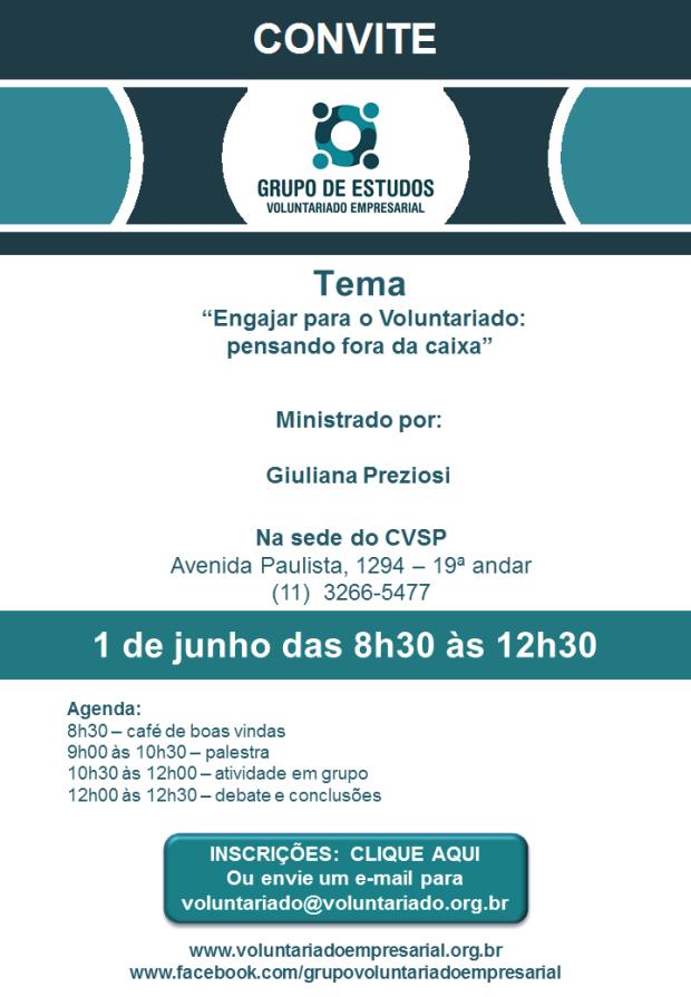 Convite 1 de junho Grupo de Voluntariado Empresarial