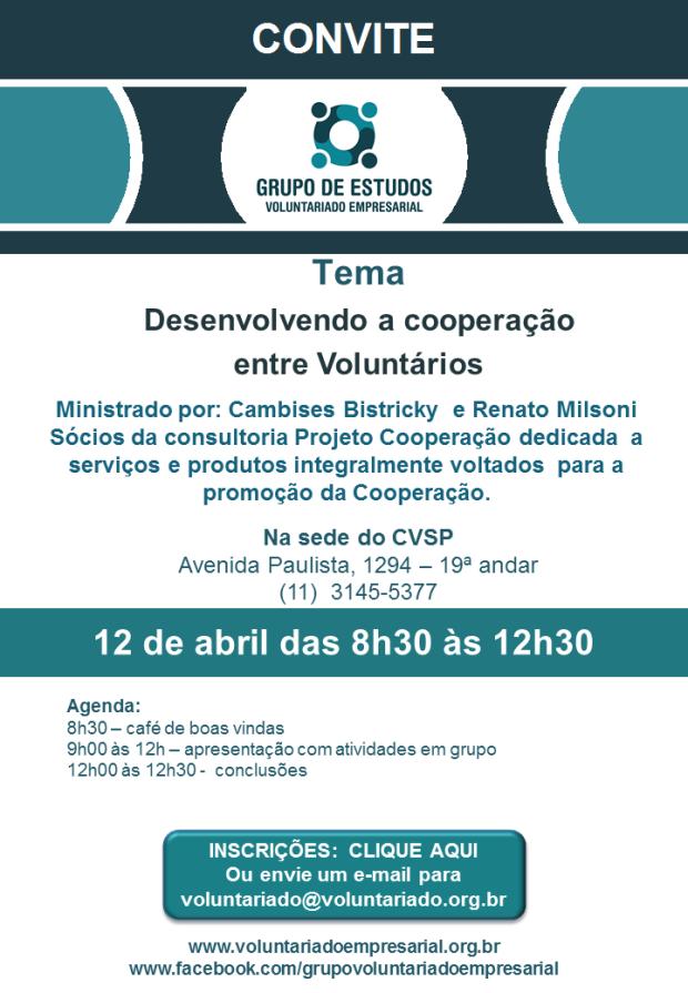 Convite 12 de abril 2017 Grupo de Voluntariado Empresarial