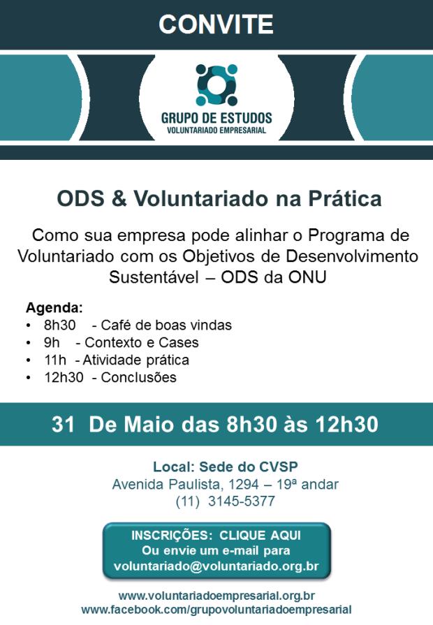 Convite 31 de MAIO 2017 Grupo de Voluntariado Empresarial