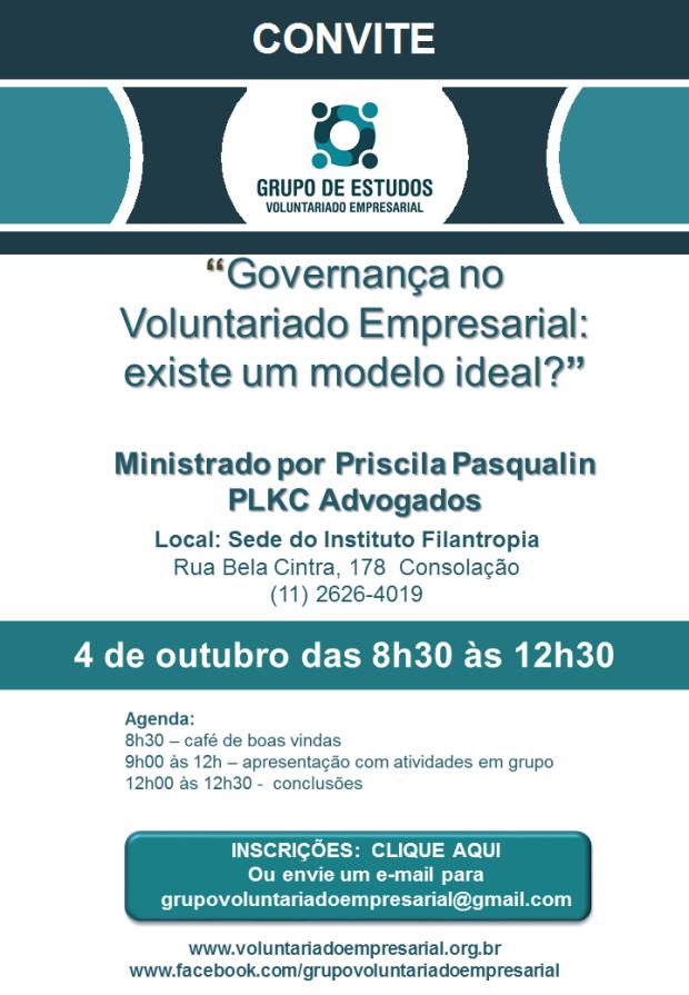 Convite 4 de outubro 2017 Grupo de Voluntariado Empresarial