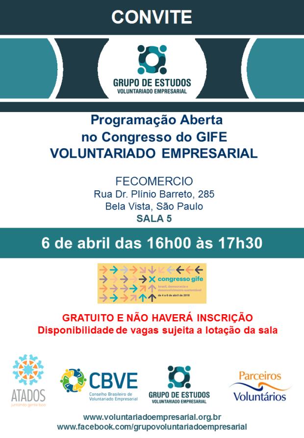 Convite 6 de abril 2018 Grupo de Voluntariado Empresarial