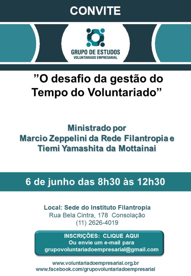 Convite 6 de junho 2018 Grupo de Voluntariado Empresarial