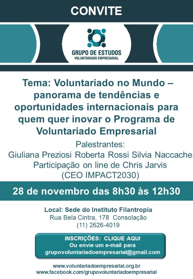 Convite 28 de novembro 2018 Grupo de Voluntariado Empresarial