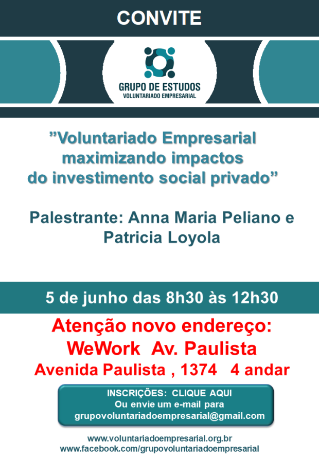 Convite05062019 Grupo de Voluntariado Empresarial